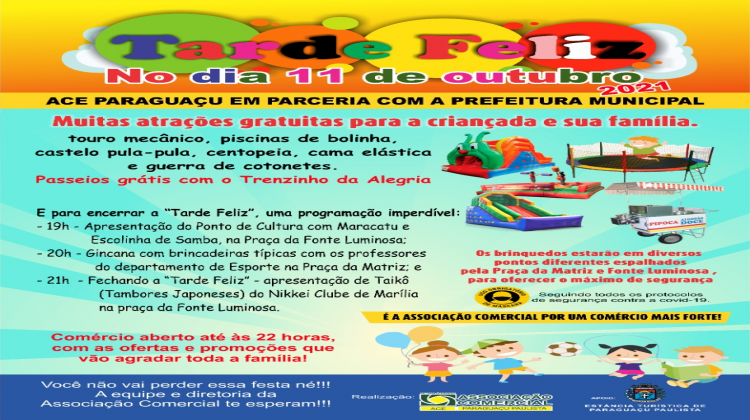 Notícia: ACE Paraguaçu e Prefeitura realizam Tarde Feliz em comemoração ao Dia das Crianças